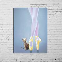 pinturas abstratas senhora venda por atacado-Frete Grátis Pinturas A Óleo Pintados À Mão Retrato Da Parede Sexy Lady Balé Retrato Pinturas A Óleo Abstratas Imagens Na Lona