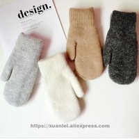 Wholesale couple gloves - Wholesale- new lovely rabbit fur gloves female winter student couple wool line all that warm plus velvet thicker solid color fashion simple