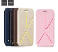 Wholesale Hoco Leather Iphone Cases - HOCO superlative colorful attractive kickstand leather flip cellphone cases tactical folding stand cover case for iPhone 5 5s iPhone 4.7 5.5