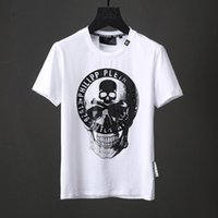 2018 Summer New T-shirt Mens 3D Skull Print T-shirt Perline di cristallo Camicia a maniche corte Nero Bianco Tees Slim Sports Polo Shirts 18740