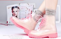 Wholesale Clear Rain Boots Womens - Wholesale-FREE SHIPPING 2015 New Transparent Womens Rain boots Colorful Crystal Clear Low Heels Water Shoes Female Retro Martin Rain Boots