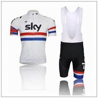 Wholesale Team Sky Jersey Bib - 2015 Promotion Sky Cycling Jersey Short Sleeve Cycling Jerseys Bib Mountain Bike Jerseys Top Quality Bicycle Team Sky Jersey
