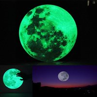 Wholesale Country Wall Paper - 30cm Large Moon Glow in the Dark Luminous Wall Sticker Home Decoration Decor