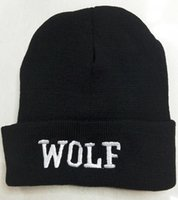 Wholesale 3d Hat Letters - 2015 Newest 3D EXO Wolf Beanie Embroider Caps Fshion Knitted Winter Skull Cap Baseball Sport Hat 5pcs