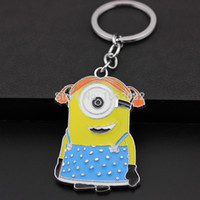 Wholesale Despicable Minion Stuart - Despicable Me 2 Lovely Minion Stuart Keychains Car Keyring Bag Charms Gift MO200