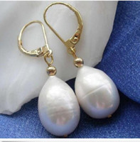Wholesale East Feature - Featured charming AAA+ akoya white 12-14mm pearl dangle earring 14K Gold