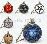 encanto de pentagrama wicca al por mayor-6 estilo personalidad pentagrama de cristal colgante collar encanto Wiccan collares encantos ocultos colgantes joyería FTC-N165