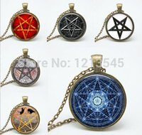 Wholesale Silver Jewelry Pentagram Rhinestone - 6 style Personality pentagram glass Pendant Necklace charm Wiccan necklaces charms Occult pendants Jewelry FTC-N165