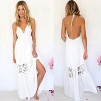 Wholesale White Maxi Sundress - Sexy Women Summer Boho Lace Long Maxi Evening Party Dress Beach Dresses Sundress