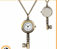 Wholesale Golden Chain Watches - Wholesale 50pcs lot golden snitch pocket Key watches necklace with chain antique pocket fob watches PW013