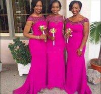 belos vestidos de damas de honra longos chiffon venda por atacado-Sul Africano Da Dama de Honra Coral Vestido com Meia Manga Longa Sereia Vestido de Festa Bonito Lace Bridemaid Vestidos Plus Size