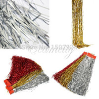 Wholesale Wholesale Christmas Decorations Tinsel - 10Pcs lot Shiny Christmas Xmas Tinsel Lametta curtain Tree Decoration Garland Ribbon Wedding Party Gold Silver Red Three Colors
