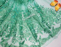 Wholesale Top Quality African Fabrics - 2015 Top quality Lurex cord embroidered french net lace African swiss lace fabric with lots of beads 4105 water green 5 yards