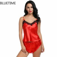 Summer Sexy 2 Pieces Pajamas Women Sleepwear NightShirt Топы и эластичные шорты талии Pajama устанавливает поддельный шелк Homewear 230a
