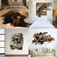 Wholesale Kids Room Wallpaper Free Shipping - Mixed New 3D dinosaur Wall Stickers Decorative Wall Decal Cartoon Wallpaper Kids Party Decoration Christmas Art Hot Free Shipping