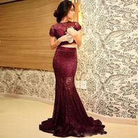Wholesale Burgundy Cap Sleeve - Wine Red Evening Gowns 2016 Two Pieces Lace Burgundy Cap Sleeve Lace Mermaid Floor Length Evening Gowns Vestidos de Festa