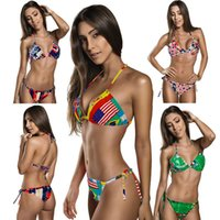 Wholesale Lady Suits Wholesale - PrettyBaby Europe and the United States flag sexy lady fission bikini Beach Halter Bandage Beach Swimwear Fashion bathing suit 4 colors