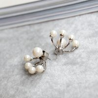 Wholesale October Party - New arrival october Free Shipping Popular tide models of dual-use glass pearl earrings hot sales
