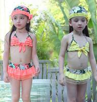 Wholesale Girl 3pcs Set Yellow - New children bikini swimsuits girls lace floral falbala skirt split swimwear bikini 3pcs sets kids spa beach swimwear 7310