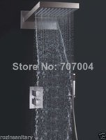 Wholesale Dual Rain Shower - Dual Handles Stainless Steel Material Thermostatic Shower Faucet Rain Hand Holder Shower Mixer Tap