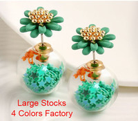 Blooming Flower Double Sided Gold Plated Stud Pendientes 4 colores del caramelo Estrellas de bola transparente Statement Plug Pendientes Spring Jewelry Stocks