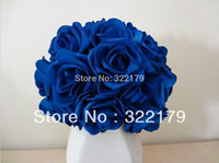 Wholesale Artificial Wedding Bouquets Orange - Artificial Flowers Royal Blue Roses For Bridal Bouquet Wedding Bouquet Wedding Decor Arrangement Centerpiece PE roses