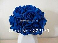 kraliyet gülleri toptan satış-Yapay Çiçekler Kraliyet Mavi Güller Gelin Buketi Düğün Buket Düğün Dekor Için Aranjmanı Centerpiece PE güller