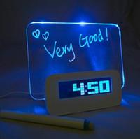 Wholesale led clock diy - USB Digital Alarm Clock DIY Square Plastic Table Clocks Multi Function Luminous Message Board Timepiece High Quality 30lz B R