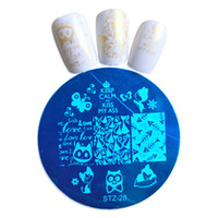 Wholesale Lovely Cat Image - Wholesale- 1pcs Nail Art DIY Stamping Plates Image Templates Lovely Cats Nail Stamp Stencil Beauty Decorations Manicure Tools #STZA28