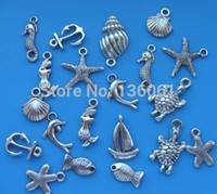 Wholesale Wholesale Seahorse Charm - 100PCs Vintage Silver Mixed Sea Seahorse Shell Fish Anchor Charms Pendants Fit Bracelets Fashion Jewelry Findings Making Craft DIY Gift NEW