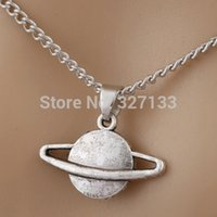 Wholesale Earth Globe Necklace - 10 pcs Retro Globe Necklace Antique Silver Planet Earth Pendant Long Chain Necklace Vintage Jewelry 45cm S6135