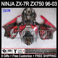 carenagem zx7r vermelho preto venda por atacado-8Presentes Para KAWASAKI NINJA QUENTE preto vermelho 96-03 ZX7R 1996 1997 1998 1999 2000 2001 2002 2003 Y1234 ZX-7R ZX 7R Kit de Carenagem Red chamas preto