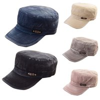 Wholesale Military Cadet Hat Wholesale - Fashion Summer Adjustable Classic Army Plain Vintage Hat Cadet Military Cap Free Shipping