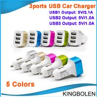 Wholesale Output Dc 5v 1a - Universal Vehicle 3 Ports USB Car Charger output 5V DC 2.1A   1A  1A Multi-port USB Power Adapter for all phone pad DHL free shipping