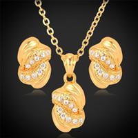 altın taklidi mücevherler toptan satış-18 K Gerçek Altın Kaplama Gerdanlık Kolye Kolye Damızlık Küpe Takı Hediyeler Seti Rhinestone Mücevherat Kadınlar Için