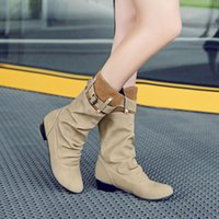 Venta al por mayor de las mujeres Pull On Mid Calf Boots Slouch Low Chunky Block Heels Knight Boots Comfort Shoes