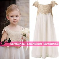 Wholesale Empire Waist Gown For Girls - 2016 Vintage Flower Girls Dresses for Bohemian Wedding Little Kid Cheap Empire Waist Champagne Lace and Ivory First Communion Gowns New Wear