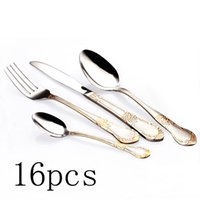 Wholesale Novelty Dinnerware Sets - 16 Pcs Gold Plated Stainless Steel Tableware Cutlery Set Dinner Knives Forks Dinnerware Tableware Novelty Silverware