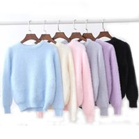 Wholesale Ladies Sweater Beautiful - Wholesale- Plush knitted wool Cashmere women pullovers 2017 winter fashion ladies O-neck sweater solid color knitwear female beautiful