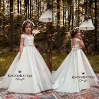 Wholesale Satin Dresses For Kids - Pure White Flower Girl Dresses For Royal Weddings 2018 A Line Sequined Satin Long Kids Formal Gowns Birthday Pageant Dress Custom Made