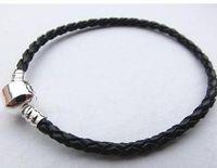 Wholesale Multiple Chain Bracelet - DIY 20pcs Lot PAN Style Leather Cord Bracelet 925 Silver Plated Multiple colors 20cm