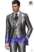 Wholesale Men Suit Design Prom - Latest Design One Button Silver Groom Tuxedos Peak Lapel Groomsmen Best Man Wedding Prom Dinner Suits (Jacket+Pants+Vest+Tie) G2902