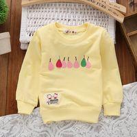 Wholesale Girls Hoodie Tshirt - Wholesale-Child Cotton Autumn Round Neck Tshirt Baby Girls Candy Colors Pear Pattern Hoodies kt158AZ