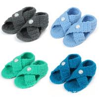 детские сандалии ручной работы оптовых-Ручной работы детские сандалии шерстяная пряжа крючком детские Жемчужина конфеты цвет сандалии новорожденного мягкая подошва младенца малышей обувь новорожденного Prewalker #0074