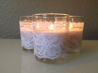 Wholesale Glass Candle Plates Wholesale - 2015 Wedding Supplies Candle Glasses Covers Lace Cheap Custom Party Decorations