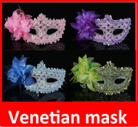 Wholesale Hot Pink Masquerade Masks - hot Party Mask with stick hand made Venetian Half face mask Halloween flower Mask Masquerade Mask princess Braid Mask color Mardi Gras Mask