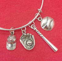 Wholesale Baseball Cuff Links - Baseball Gloves Cap Stick Charm Expandable Wire Bangles Vintage Silver Cuff Bangles For Women Jewelry Fashion Couple Gift Accessories HOT