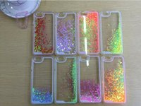 Wholesale Iphone 4s Case Heart Plastic - Floating glitter Heart Running Quicksand Liquid Dynamic Hard Case clear transparent shining Cover For iPhone4 4s 5 5s 6 iphone 6 plus