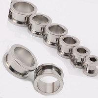 Wholesale flesh ear tunnels for sale - 100pcs mix mm Cheap Jewelry stainless steel screw ear plug flesh tunnel piercing body jewelry