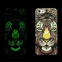 Wholesale Green Ground Cover - Fluorescent Noctilucent 3D cute Cartoon Case Grind Arenaceous Feel Animal world Tiger OWL Wolf Phone Cover For Iphone 6 6plus 5s